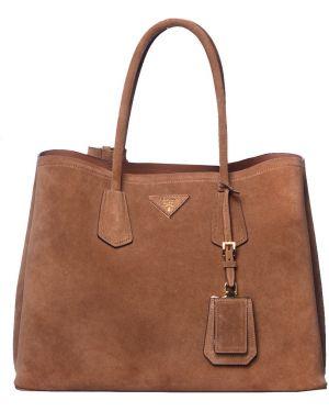 Кожаная сумка - коричневая Prada