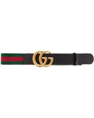 Ремень в полоску черный Gucci