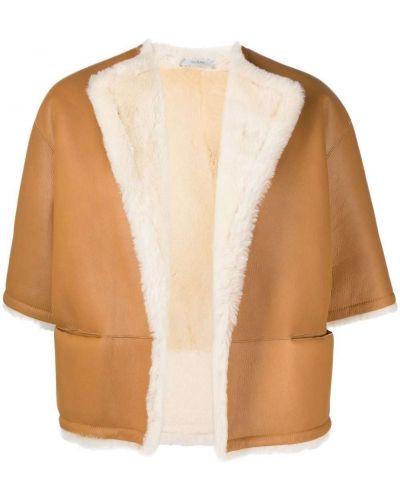 Коричневая кожаная куртка классическая Dusan