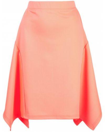 Розовая юбка миди с поясом в рубчик The Celect