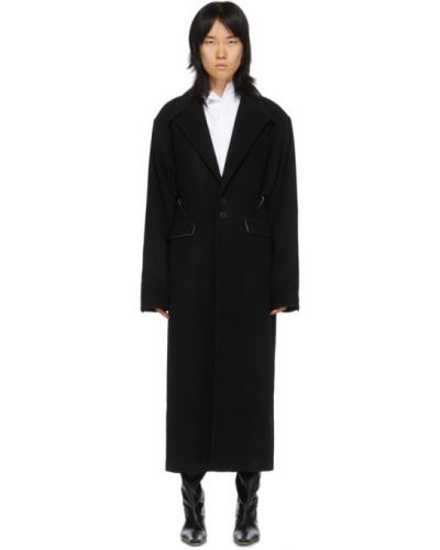 Синее шерстяное длинное пальто с воротником оверсайз Situationist