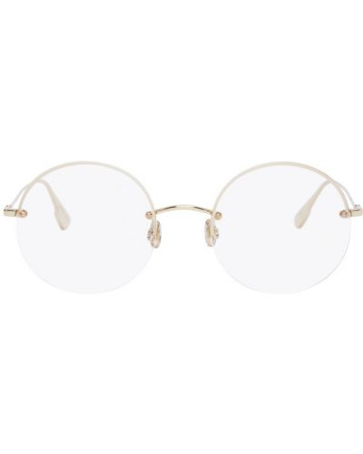 Кожаные черные очки для зрения круглые Dior