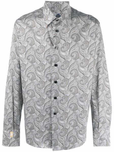 Хлопковая серая длинная рубашка на пуговицах Billionaire