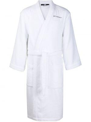 Długi szlafrok bawełniany - biały Karl Lagerfeld