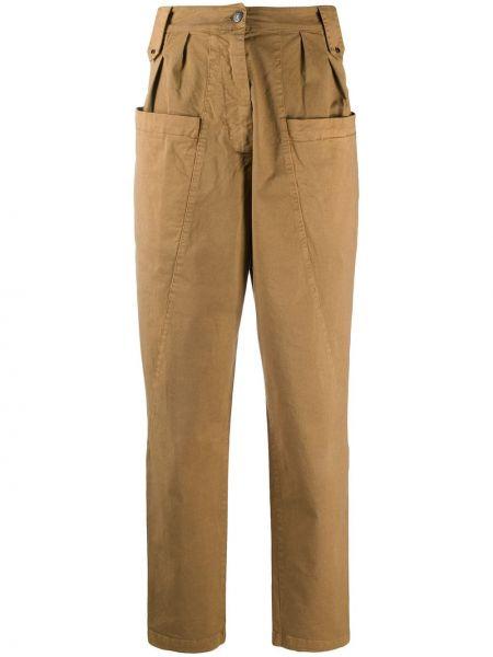 Хлопковые коричневые брюки с защипами с высокой посадкой на молнии 8pm