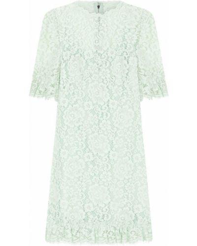 Шелковое зеленое коктейльное платье с вырезом Dolce & Gabbana