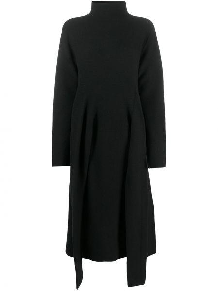 Черное вязаное платье макси оверсайз с длинными рукавами Christian Wijnants