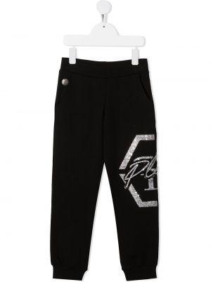 Прямые черные брюки с карманами Philipp Plein