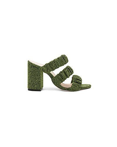 Зеленые мюли на каблуке Raye