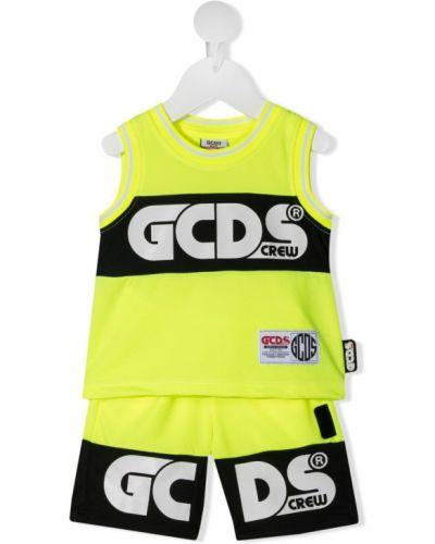 Czarny dres bez rękawów z printem Gcds Kids