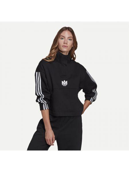 Брендовый флисовый черный свитшот Adidas Originals