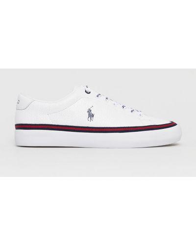Białe sneakersy skorzane sznurowane Polo Ralph Lauren