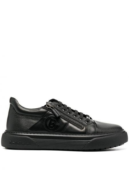 Кожаный черный ажурный топ на шнуровке Baldinini