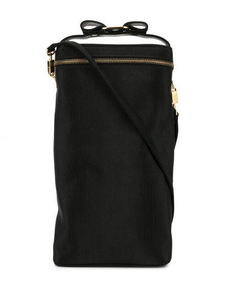 Парусиновая черная сумка на плечо круглая на молнии Salvatore Ferragamo Pre-owned