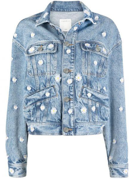Синяя джинсовая куртка с воротником с карманами Sandro Paris