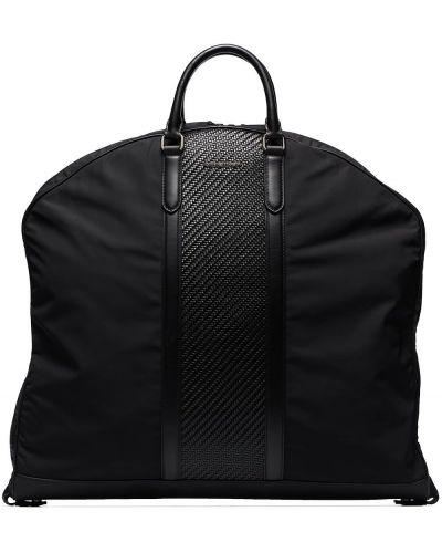 Черная кожаная сумка с ручками Ermenegildo Zegna