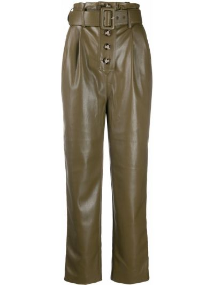 Кожаные оливковые брюки с карманами с высокой посадкой Self-portrait
