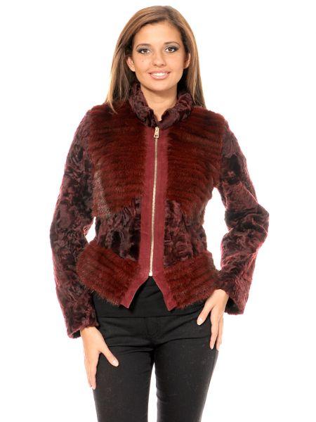 Норковая куртка - бордовая Mor`a