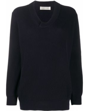 Черный свитер с V-образным вырезом в рубчик с манжетами Lamberto Losani