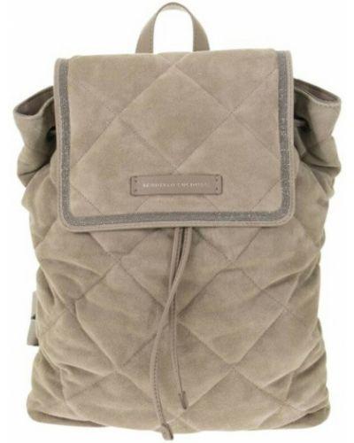 Beżowy plecak zamszowy Brunello Cucinelli