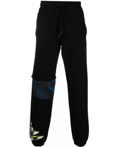 Czarne spodnie bawełniane z printem Marcelo Burlon County Of Milan