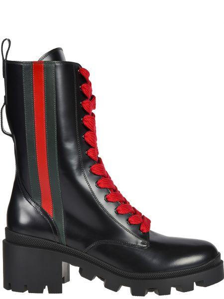 Кожаные полусапожки - черные Gucci