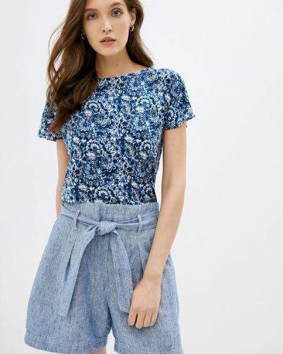 Синяя с рукавами футболка Lauren Ralph Lauren