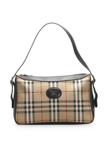 Золотистая парусиновая сумка на плечо на молнии с нашивками Burberry Pre-owned