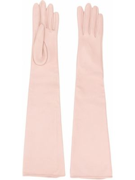 Прямые розовые перчатки длинные с декоративной отделкой без застежки Manokhi