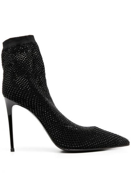 Кожаные черные носки без застежки на каблуке Le Silla