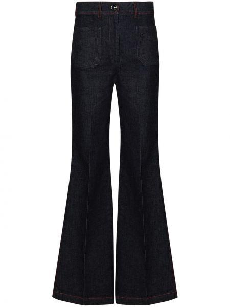 Хлопковые синие расклешенные джинсы свободного кроя на молнии Victoria Beckham