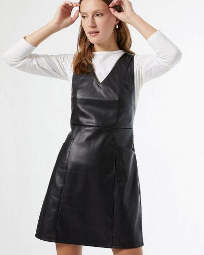 Кожаное черное платье Dorothy Perkins