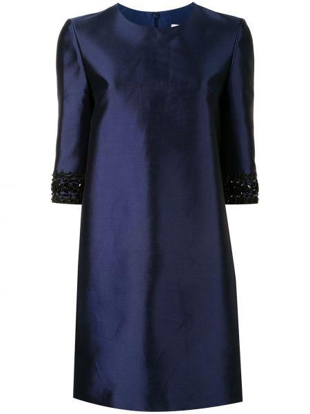 Niebieska sukienka mini krótki rękaw z jedwabiu Carolina Herrera