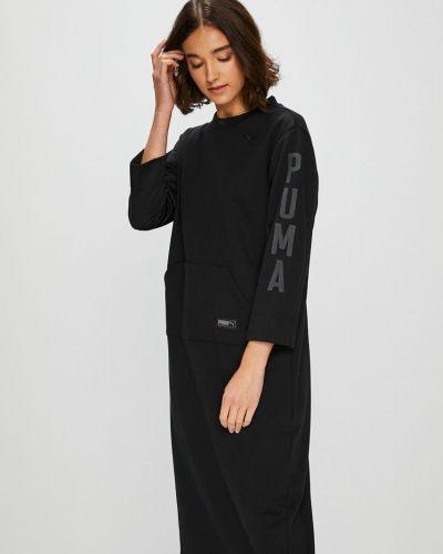 Прямое черное платье миди Puma