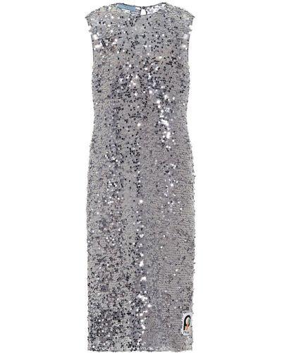 Платье миди с пайетками на кнопках Prada