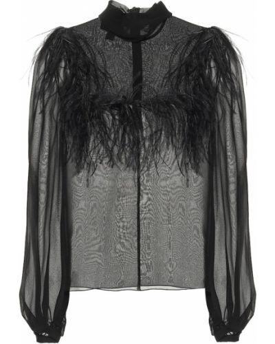 Шелковая черная вечерняя блузка с перьями Giambattista Valli