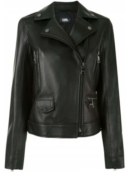 Прямая черная куртка на молнии байкерская Karl Lagerfeld