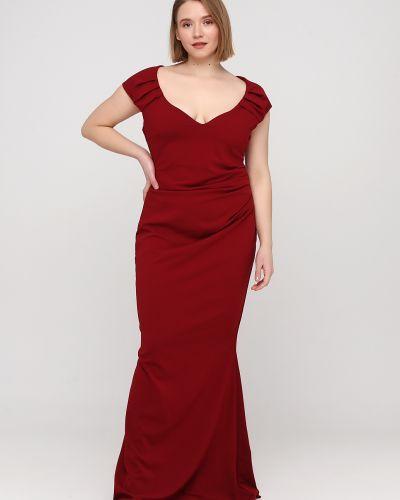 Облегающее красное вечернее платье с драпировкой Goddiva