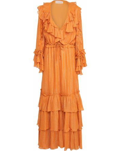 Платье макси в полоску на крючках с V-образным вырезом Sundress