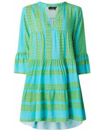 Sukienka rozkloszowana z falbanami - turkusowa Miss Goodlife