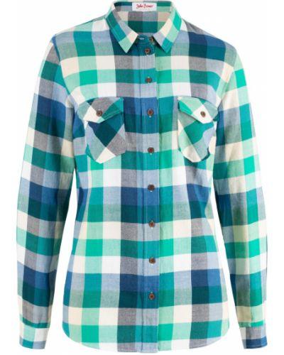 Рубашка с длинным рукавом в клетку зеленый Bonprix