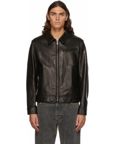 Кожаная куртка длинная - черная Schott