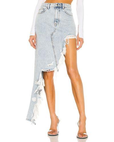 Синяя кожаная джинсовая юбка с карманами Denim X Alexander Wang