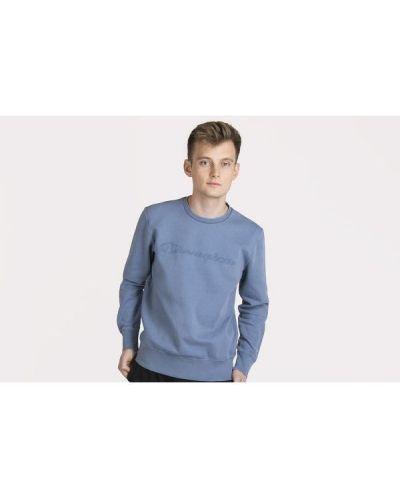 Niebieska bluza z długimi rękawami bawełniana Champion