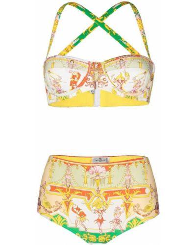Желтые с завышенной талией бикини стрейч Etro