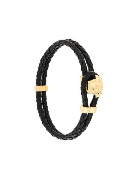 Плетеный браслет кожаный черный Versace