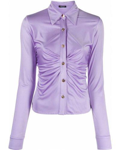 Fioletowy z rękawami bluzka z falbankami Versace