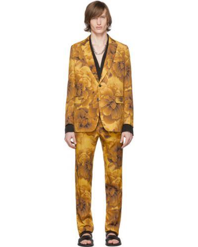 Шерстяной желтый брючный брючный костюм Dries Van Noten