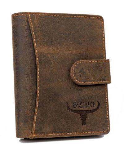 Brązowy portfel na monety skórzany oversize Buffalo Wild