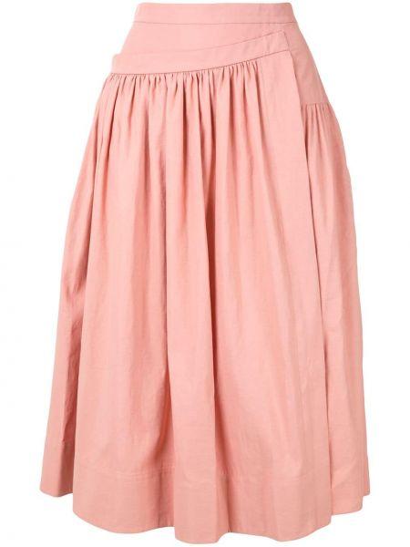 Хлопковая розовая юбка миди с запахом в рубчик Rochas